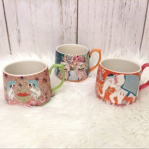 Anthro Paige Gemmel Eastern Animal Set Of 3 Mugs